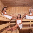 Three women enjoying a hot sauna — Stock Photo