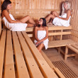 Three women enjoying a hot sauna — Stock Photo #7516085