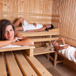 Three women relaxing a hot sauna — Stock Photo #7516098