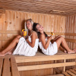 Two women enjoying a hot sauna — Stock Photo
