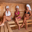Three women relaxing a hot sauna — Stock Photo