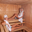 Stock Photo: Two women enjoying a hot sauna