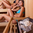 Two women enjoying a hot sauna - Stock Photo