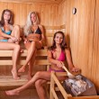 Friends using sauna — Stock fotografie
