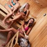 Friends using sauna — Stock Photo