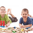 Boys playing whit blocks — Stock Photo #7516281