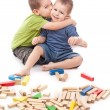 Boys playing whit blocks — Stock Photo
