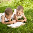Boys reads a book — Foto Stock