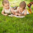 Stock Photo: Boys reads a book