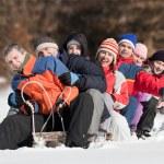 Friends sliding — Stock Photo