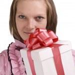 vrouw met doos van de gift — Stockfoto