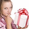 Woman with gift box — Stock Photo #7516862