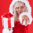 Woman wearing santa clause costume — Stock Photo #7516947