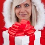 Woman wearing santa clause costume — Stock Photo #7516961