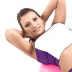 donna con palla fitness — Foto Stock