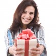 Girl holding a gift — Stock Photo #7517579