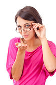 Female blowing a kiss — Stock Photo