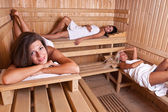Relaxation in sauna — Stock Photo