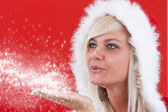 Attracive girl in santa cloth — Stock Photo