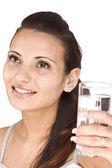 水のガラスを持つ女性 — ストック写真