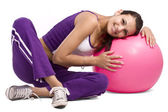Woman with fitness ball — Stock Photo