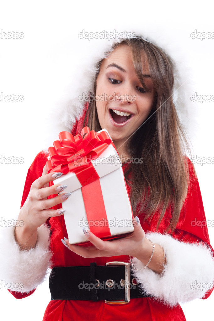 Surprised sexy Woman with Santa Hat and Christmas Gifts  — Stock Photo #7517208