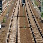 Long straight railroad tracks — Stock Photo #6747169