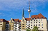 Nikolaiviertel and TV-tower in Berlin — Stock Photo