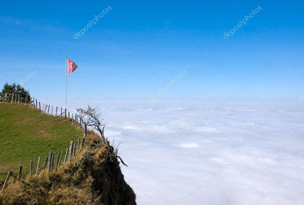 View over the clouds from the Rigi mountain in central switzerland — Stock Photo #7360389