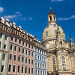 Beautiful houses around the Frauenkirche — Stock Photo