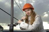 Girl in a helmet — Стоковое фото