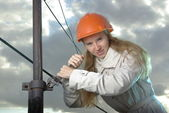 Angry female at work — Foto Stock
