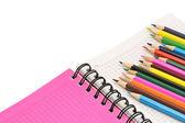 Defter ve kalemler — Stok fotoğraf