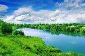 Small village and beautiful Lake — Stock Photo