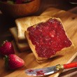Toast with cherry jam — Stock Photo