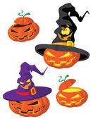 Uppsättning av halloween pumpa — Stockvektor