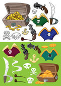 Pirate set outlined — Stockvector