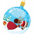 Stock Vector: Christmas ball with deer and bag