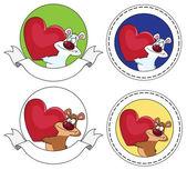 Banner oso y corazón — Vector de stock
