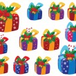 Stock Vector: Set of Christmas gifts box