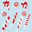 Stock Vector: Set of Christmas candy sticker