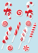 Set of Christmas candy sticker — Stock Vector