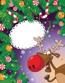 キャンディのクリスマス カードと鹿 — ストックベクタ