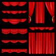 Red curtains - Stock Vector