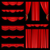 Red curtains — Stockvector