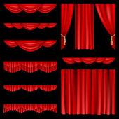 赤いカーテン — ストックベクタ