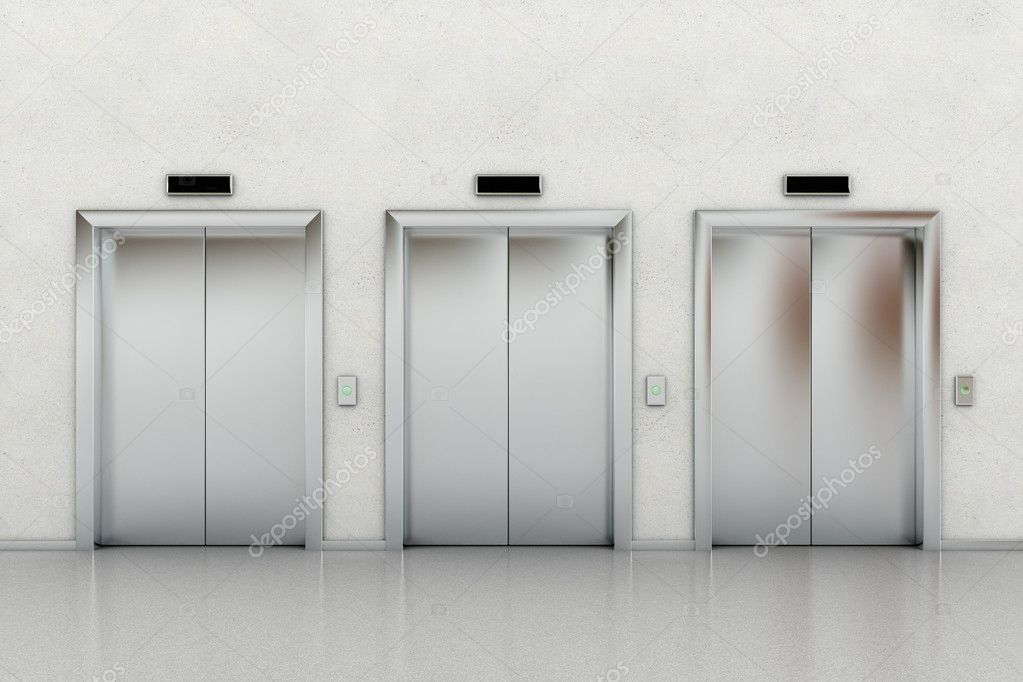 Three closed elevators in a business lobby — Stock Photo #7210044