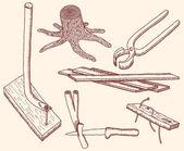 деревянные инструменты — Cтоковый вектор