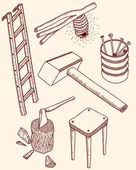木製のツール — ストックベクタ