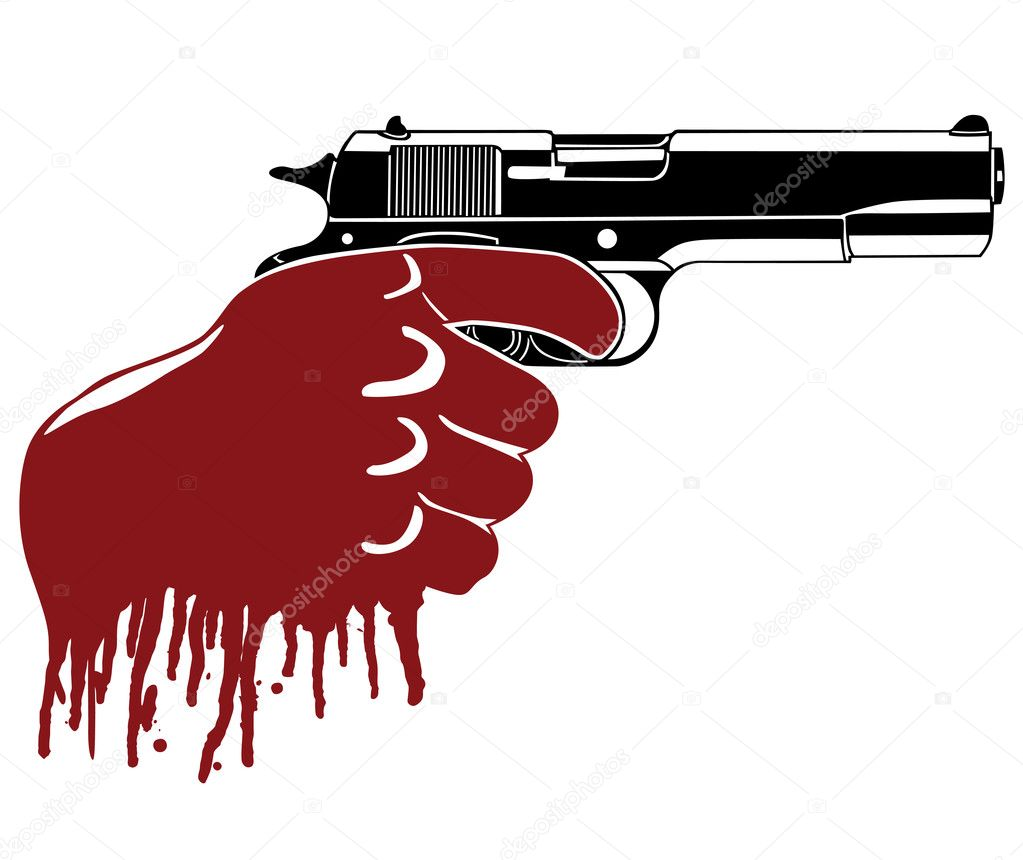 Several gun with bloody hand  Stock Vector #7541891